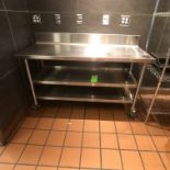 """Approx. 5' L x 2"""" W S/S Portable Table with S/S Backsplash and Shelves"""