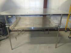 "Semi-Automatic Debagging Table, 50"" W x 60"" L, Swing Arm Design, Pull Swign Arm Towards Operator"