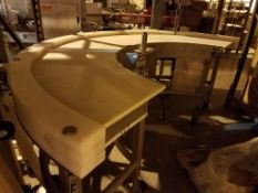 KOFAB Smooth 180 Degree Curve Belt Conveyor, White Belt Mat Conveyor (Located in Sioux Falls)