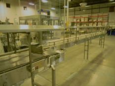 Single File Conveyor, All S/S, 5' Straight, to 90° (L) Turn, To 6' Straight, To 90° (L) Turn