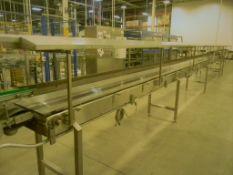 "Accumulation Conveyor, All S/S, 18"" Intralox Chain, 35' L, 6""W X 48""L Dynamic Transfer"