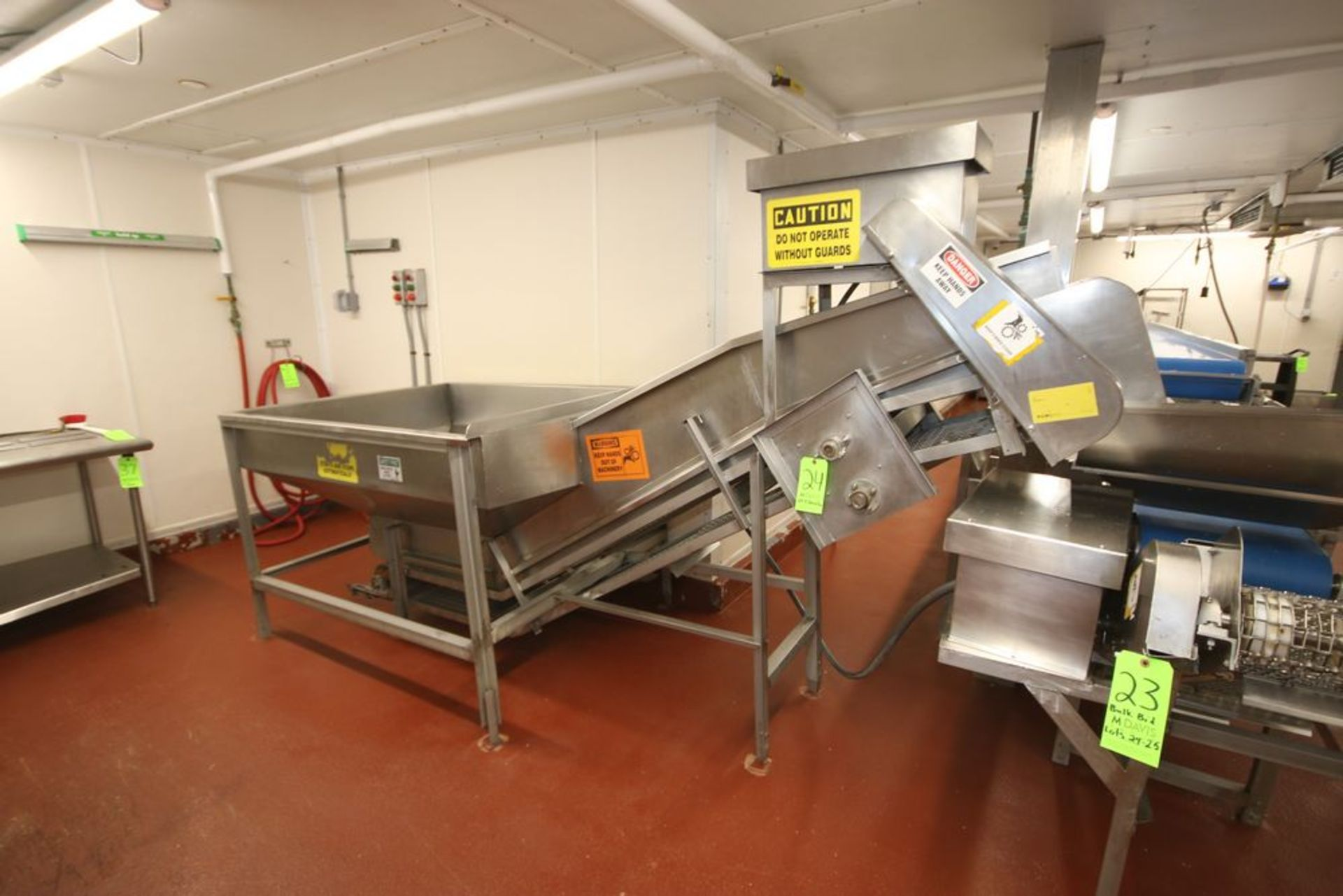 Lot 23 - BULK BID LOTS 24 & 25 INCLUDES: S/S Incline Conveyor with S/S Hopper, with S/S Mesh Belt with S/S