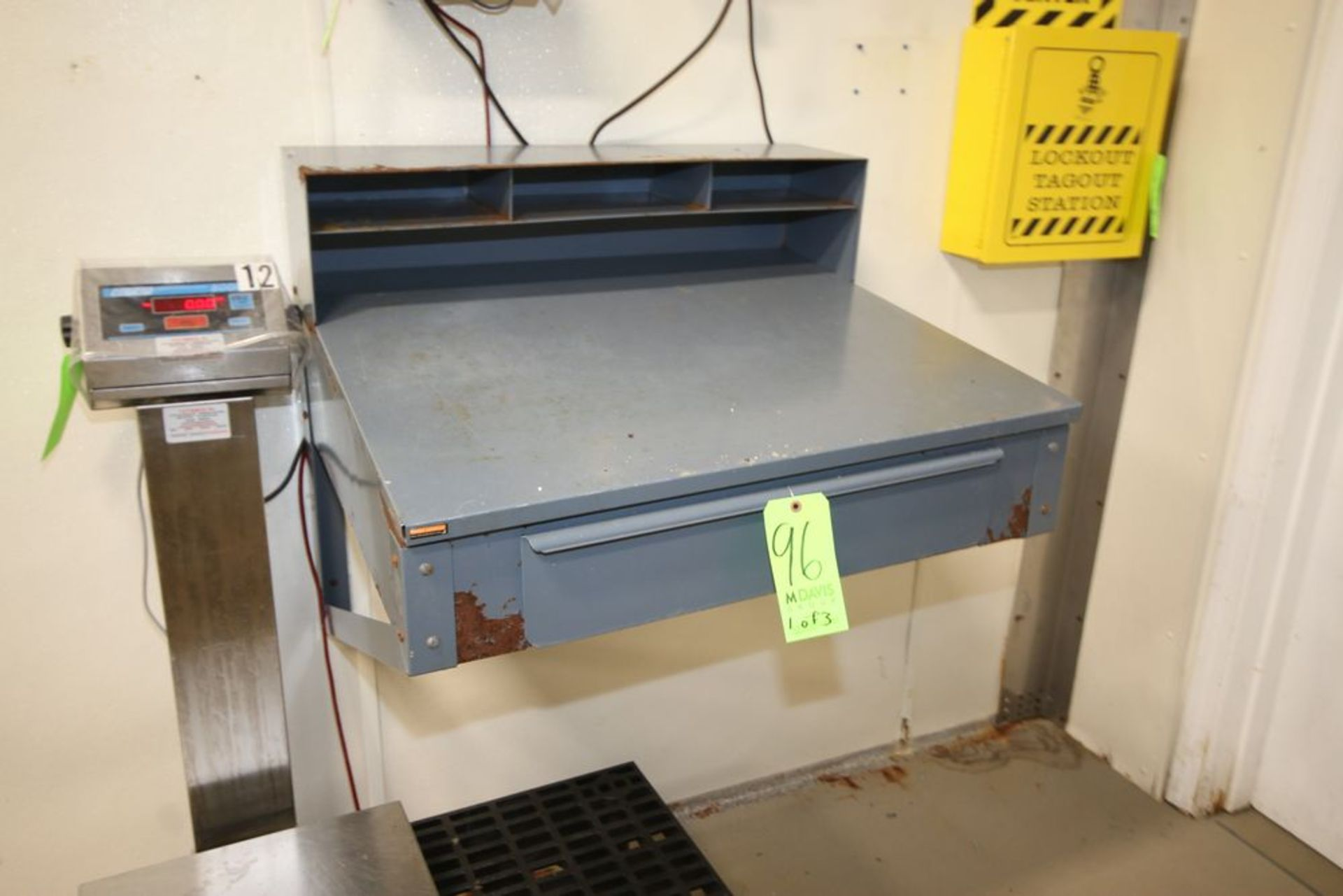 Lot 96 - Foreman Desks, Wall Mounted, with (1) Dunnage Rack, and (2) S/S Portable Side Tables (LOCATED IN