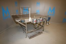 """Section of S/S Conveyor, Belt Dims.: Aprox. 45"""" W x 64"""" L with (3) Belt Design, with S/S Guide"""
