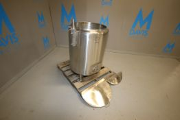 Aprox. 50 Gal. S/S Jacketed Vertical Tank, with Slope Bottom, Mounted on S/S Legs, Tank Dims.: