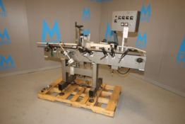 """Universal Inline Labeling System, with Aprox. 6"""" W Inlet/Outlet Conveyor Chain, Mounted on S/S Frame"""