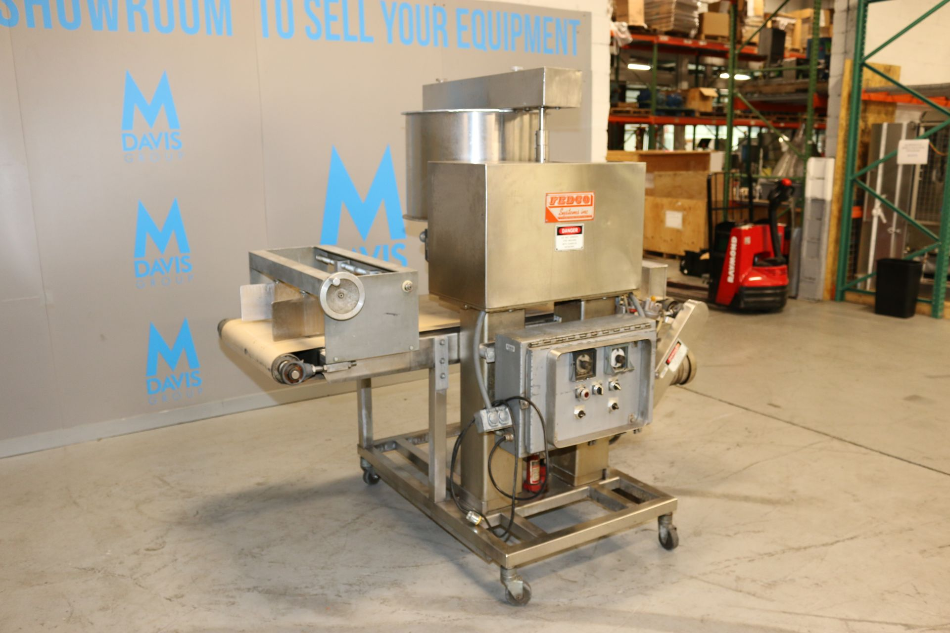 """Lot 46 - Fedco Sysetms Inc. S/S Dual Roll Depositor, M/N 12 C, S/N 126, with Aprox. 23"""" L Infeed/Outfeed"""
