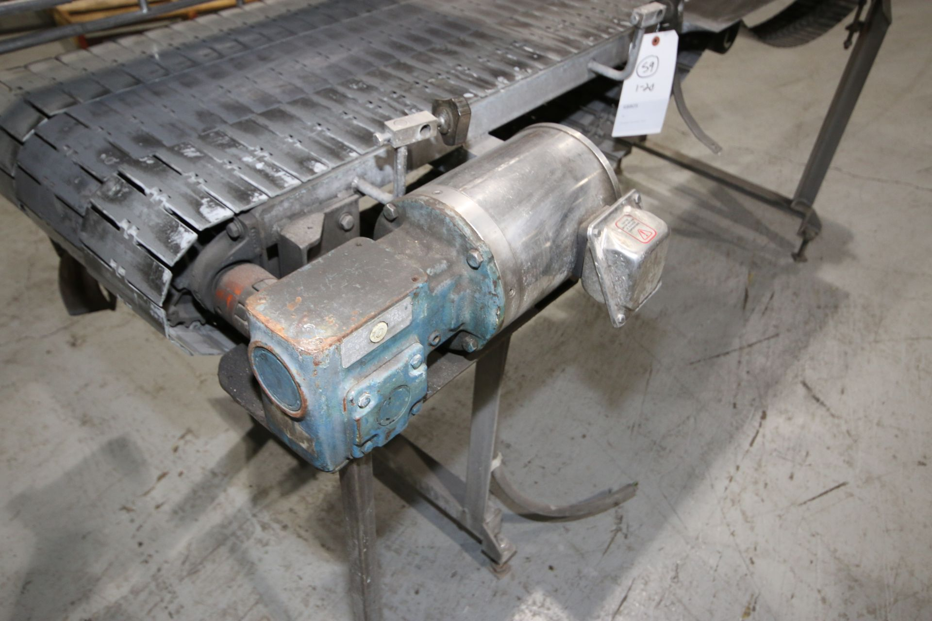 "Lot 32 - S/S Accumulation Conveyor, with (3) Aprox. 6"" W Conveyor Chains, Overall Dims.: Aprox. 102"" L x"