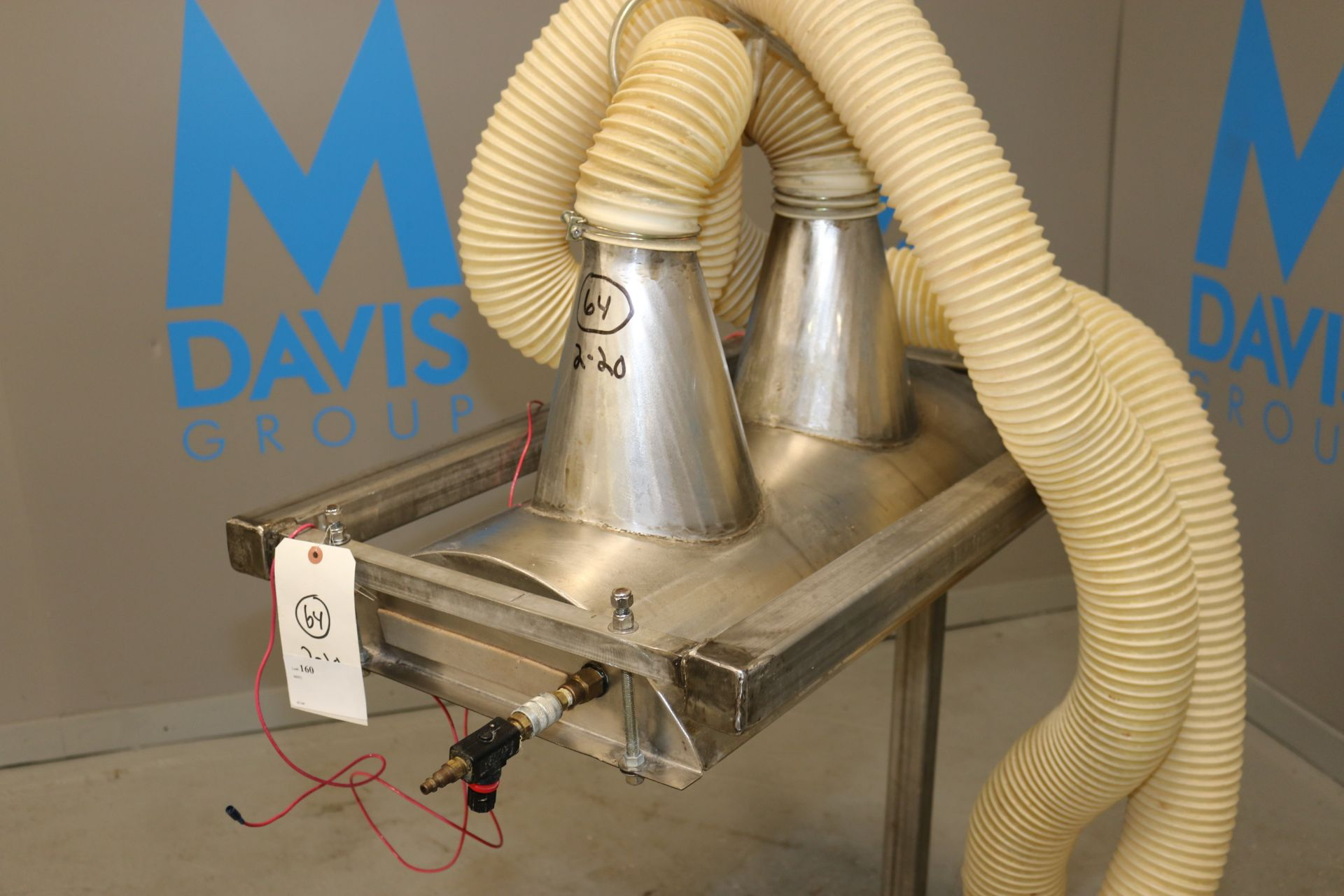 """Lot 52 - Dual Chute S/S Hood Unit, with (2) Collection Hoses, Hood Dims.: Aprox. 27-1/2"""" L x 16"""" W, Hood Sits"""