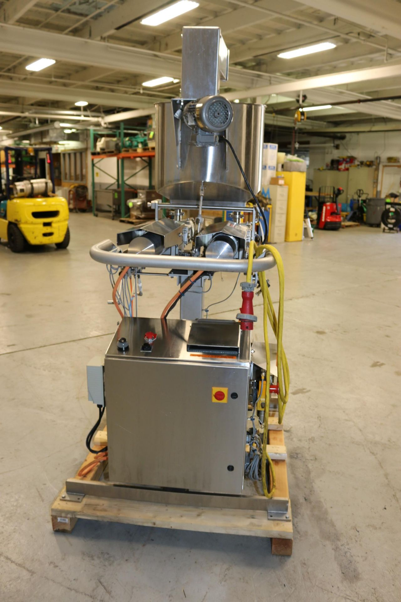 """Lot 19 - Hinds-Bock S/S Dual Depositor, M/N 2P-01S, S/N 7336, with (2) Ampco S/S Pumps, with Aprox. 1-1/2"""""""
