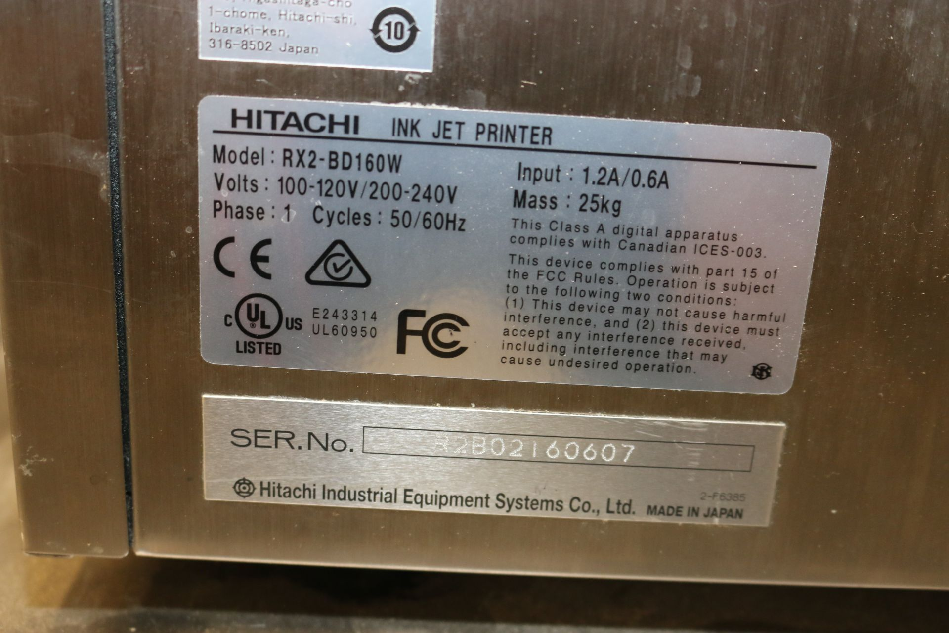 Lot 163 - Hitachi Ink Jet Printer, M/N RX2-B, S/N R2B02160607, with Ink Head, with Touchscreen Display, with