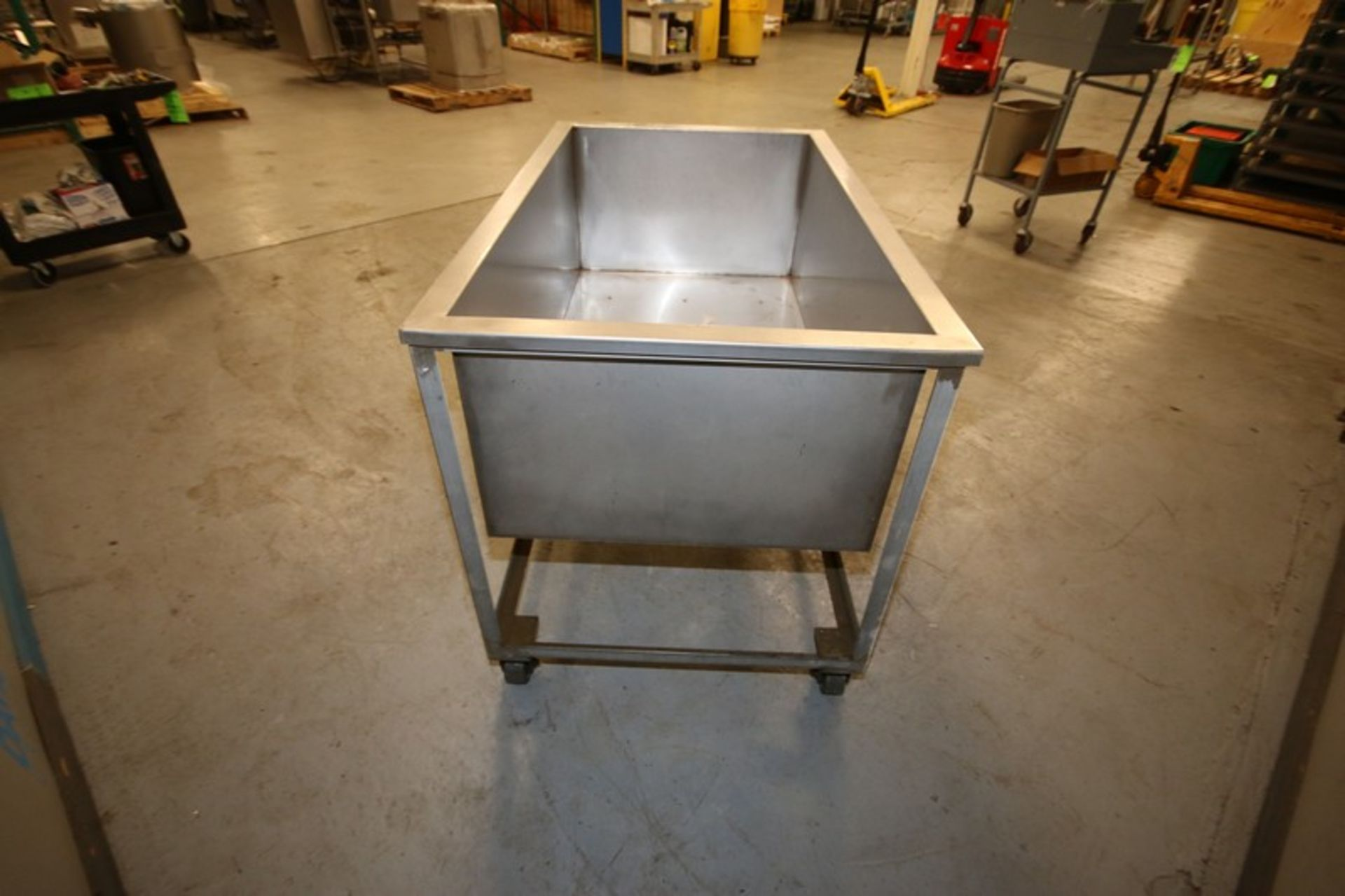 """Lot 7 - S/S Portable Tote, Internal Dims.: Aprox. 53-1/2"""" L x 29-1/2"""" W x 19"""" Deep, Mounted on Portable S/S"""