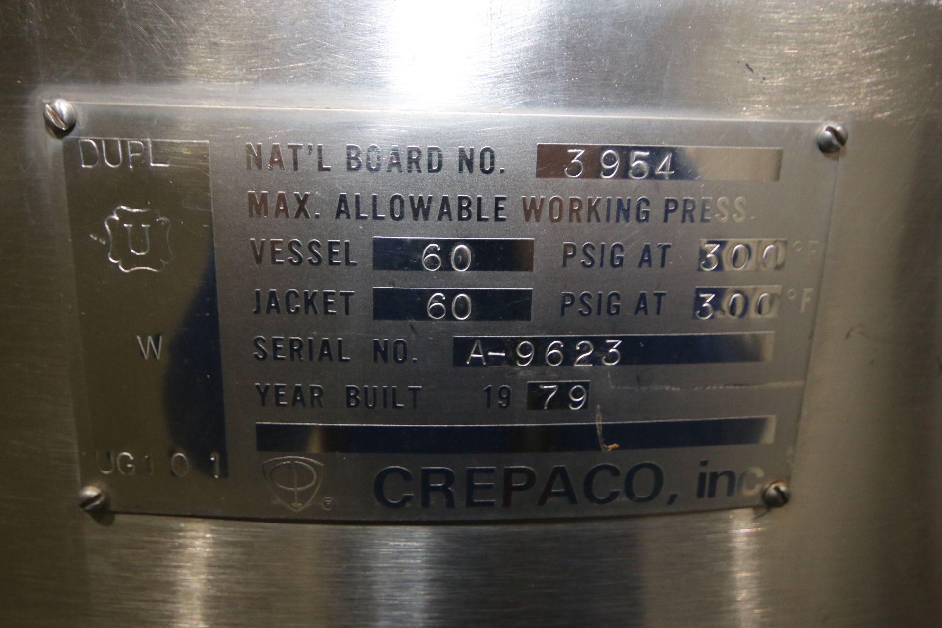 Lot 26 - Crepaco Aprox. 150 Gal. S/S Processor, S/N A-9623, NAT'L BD: 3954, Max. Allowable Working Press.: