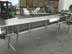"""S/S Conveyor Belt with White PVC, 24"""" W x 14' L, 1/2 hp, 3 Ph, 208/230 with Diverter Opening, New"""