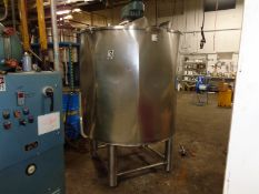 500 Gallon Stainless Steel Jacketed (3 zones) Tank with 5HP Scrape Surface mixer. (LOCATED IN