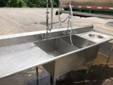 """Double S/S Sink, 24/39 14"""" Deep with Counter Space - 10' / 32"""" - Overall Nice Rinse Station (Located"""