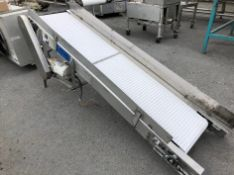 """7'6"""" ~18"""" W PVC Cleated Belt Incline Conveyor, S/S with Sides, Half HP Motor and Gearbox, Good"""