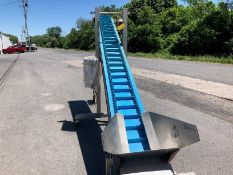 """Weighpack 13/16"""" Inclined Infeed Conveyor, S/N 2323 on Casters, All S/S, Gathering Hopper 24 x 20"""