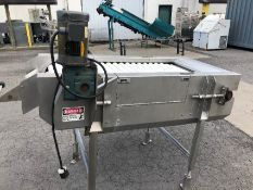 """5'6"""" S/S Roller Table with 1/2 hp Motor with Gearbox, PVC Rollers 24""""/2 1/2, Adjustable Legs, Good"""