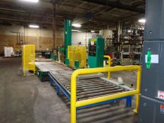 Signoid Automated Stretch Wrapper with powered infeed/outfeet roller coveyors -- Operational when
