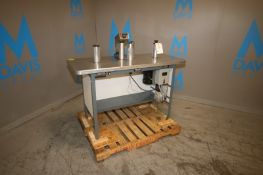 "Teco Label Rewind Inspection Table, M/N 300, S/S Table Top Dims.: Aprox. 55-1/2"" L x 24"" W, with"