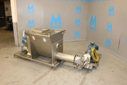 "APV S/S Ribbon Blender & Auger Feeder, S/N K-0784, with Aprox. 9"" Dia. S/S Auger & Discharge, with"