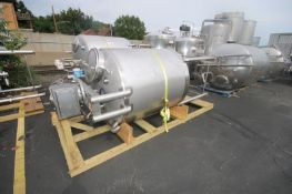 "Aprox. 500 Gal. S/S Single Wall Vertical Tank, Tank DIms.: Aprox. 60"" L x 52"" Dia., with Dual S/S"