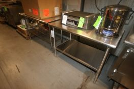 """S/S Tables,1- Uline S/S Table, Overall Dims.: Aprox. 48"""" L x 30"""" W x 35"""" H, with S/S Bottom Shelf, &"""