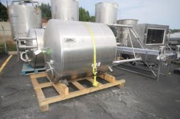 Aprox. 1,000 Gal. S/S Tank, Dome Top Cone Bottom, with Hinge Top Door, Dual S/S CIP Sprayball, S/S
