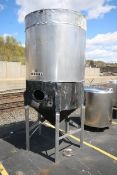 2,000 Gal. Jacketed S/S Fermentation Tank, with Side Mount Man Door, Dome Top Cone Bottom, with 2""