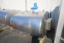 Alfa-Laval 600 Gal. S/S Jacketed Horizontal Tank, M/N ET600, S/N 71684, with Top Mounted Agitation
