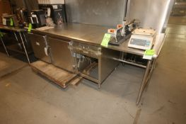 "S/S Counter Top Table,with (2) Bottom Cubbarts, Overall Dims.: Aprox. 99"" L x 33-1/2"" W x 35"" H ("