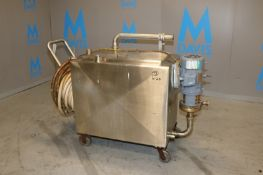 Aprox. 135 Gal. S/S Single Wall Rectangular Tank, with Side Mounted APV 3 hp Pump, 1755 RPM, 230/460