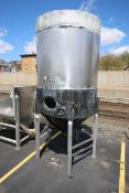 2,000 Gal. Jacketed S/S Fermentation Tank, with Side Mount Man Door, Dome Top Cone Bottom,