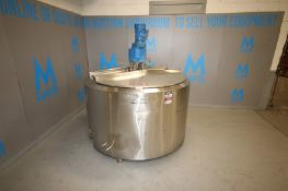 Crepaco Aprox. 500 Gal. Hinged Lid Insulated S/S Tank, S/N C8652, with 5 hp / 1725 RPM 230/460V