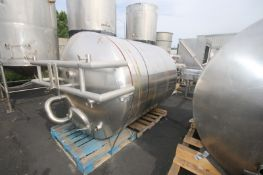 "Aprox. 1,000 Gal. S/S Insulated Vertical Tank, Tank Dims.: Aprox. 77"" L x 64"" Dia., with Cone"