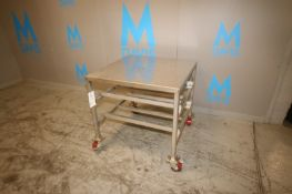 "S/S Table, Overall Dims.: Aprox. 36"" L x 36"" W x 35"" H, Mounted on Portable Frame (IN#71785) ("