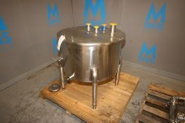 "Aprox. 50 Gal. S/S Single Wall Balance Tank, Tank Dims.: Aprox. 29"" Dia. x 18"" H, with S/S Hinge"