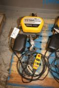 Quantum 1/2 Ton Electric Chain Hoist, M/N Q100-1RD50P14-11A3C, S/N 0100-6934-01, 230 Volts, 3 Phase,