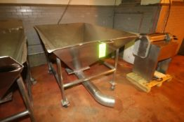 """S/S Portable Funnel Carts, Overall Dims.: Aprox. 95"""" L x 48"""" W x 46"""" H, Mounted on Portable S/S"""