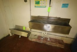 """S/S Wash Traughs, 1-Installed with Sections of Spray Down Pipe, Overall Dims.: Aprox. 61"""" x 10-1/"""