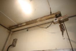 Coffing 1 Ton Electric Hoist, with Cross Beam, with (1) S/S Hook Attachment, with Hand Controller (