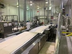 Rheon 'Right Angle' Dough Band Feeding System for Two (2) Make Up Lines (5.6m long)
