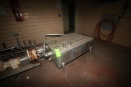 "S/S Balance Tank, Tank Dims.: Aprox. 47"" L x 36"" W x 17"" Dia., Mounted on S/S Legs (LOCATED IN"