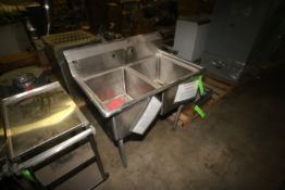 S/S Double Bowl Sink, Includes (3) S/S Portable Carts (LOCATED IN WINNSBORO, TX)