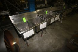 "ENS Double Bowl S/S Sinks, Overall Dims.: Aprox. 39"" L x 25"" W x 42-1/2"" H (LOCATED IN WINNSBORO,"