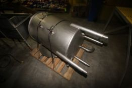 Aprox. 120 Gal. S/S Single Wall Vertical Tank, with Internal Heating Coils, Tank Dims.: Aprox. 40""