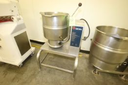 Groen 40 Gal. S/S Tilt Kettle, M/N TDB-40, S/N 71840, 208 Volts, 3 Phase, Mounted on S/S Frame &