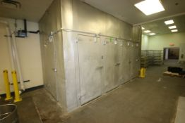 "Brown Walk-In Cooler, with Russell 5-Fan Blower, with 5-Doors, Overall Dims.: Aprox. 210"" L x 102"" W"
