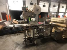 LABEL-AIRE CONVEYORIZED TOP AND BOTTOM ROLL-FED PRESSURE SENSITIVE LABELER, MODEL 3115NV-1500, S/N